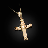 Yellow Gold Irish Claddagh Cross Pendant Necklace