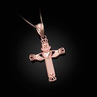 Rose Gold Irish Claddagh Cross Pendant Necklace