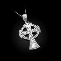 Celtic Cross Pendant Necklace in White Gold