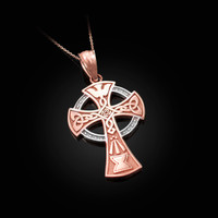 Two-tone Rose Gold Celtic Cross Pendant Necklace