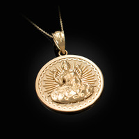 Yellow Gold Lord Ganesha Medallion Pendant Necklace