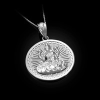White Gold Lord Ganesha Medallion Pendant Necklace