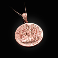 Rose Gold Lord Ganesha Medallion Pendant Necklace
