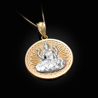Two-Tone Yellow Gold Lord Ganesha Medallion Pendant Necklace