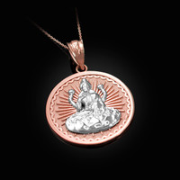 Two-Tone Rose Gold Lord Ganesha Medallion Pendant Necklace