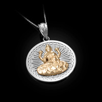 Two-Tone White Gold Lord Ganesha Medallion Pendant Necklace