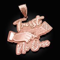 Rose Gold TRUST NO ONE Hip-Hop Pendant