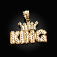 Yellow Gold Crown King Hip-Hop DC Pendant