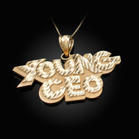 YOUNG CEO Yellow Gold DC Pendant Necklace
