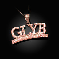 Rose Gold GLYB Grind Like Ya Broke DC Pendant Necklace