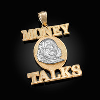 Two-Tone Yellow Gold MONEY TALKS Benjamin Franklin Hip-Hop Pendant