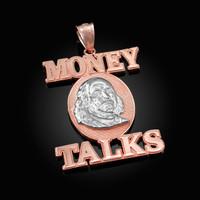 Two-Tone Rose Gold MONEY TALKS Benjamin Franklin Hip-Hop Pendant