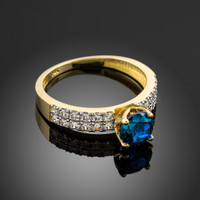 Blue Topaz Gemstone Gold Diamond Pave Engagement Ring