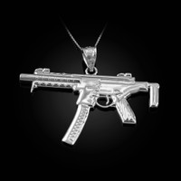 White Gold SMG Gun Pendant Necklace