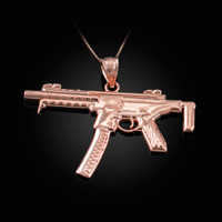 Rose Gold SMG Gun Pendant Necklace