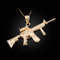 Yellow Gold Assault Rifle Gun Pendant Necklace