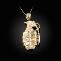 Yellow Gold Grenade Satin DC Pendant Necklace