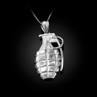 White Gold Grenade Satin DC Pendant Necklace