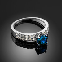 Blue Topaz Gemstone White Gold Diamond Pave Engagement Ring