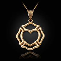 Yellow Gold Firefighter Heart Pendant Necklace