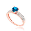 Blue Topaz Gemstone Rose Gold Diamond Pave Engagement Ring