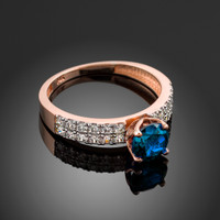 Blue topaz rose gold diamond pave engagement ring