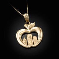 Yellow Gold New York City (NYC) Big Apple Pendant Necklace