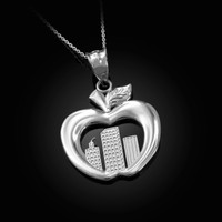 White Gold New York City (NYC) Big Apple Pendant Necklace