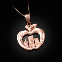 Rose Gold New York City (NYC) Big Apple Pendant Necklace