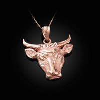 Rose Gold Bull Head DC Pendant Necklace