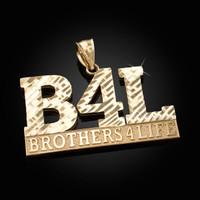 Yellow Gold B4L Brothers 4 Life Mens DC Pendant