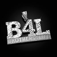 White Gold B4L Brothers 4 Life Mens DC Pendant