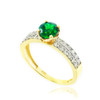 Gold Diamond Pave Emerald Engagement Ring