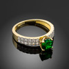 Ladies Diamond pave gold Engagement/Anniversary ring with genuine Emerald center stone.