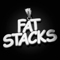 Polished White Gold FAT STACKS Hip-Hop Pendant