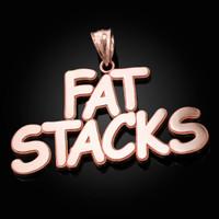 Polished Rose Gold FAT STACKS Hip-Hop Pendant