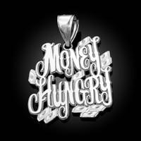 White Gold MONEY HUNGRY Hip-Hop Pendant