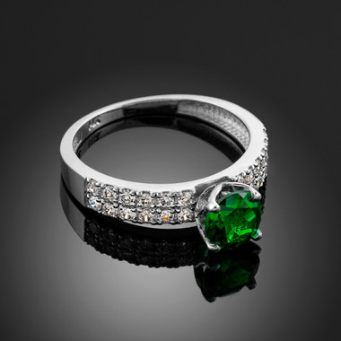 Ladies Diamond pave white gold Engagement/Anniversary ring with genuine Emerald center stone.