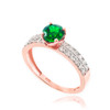 Rose Gold Diamond Pave Emerald Engagement Ring