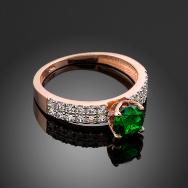 Ladies Diamond pave rose gold Engagement/Anniversary ring with genuine Emerald center stone.