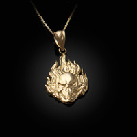 Flaming Skull Yellow Gold Pendant Necklace