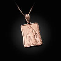 Rose Gold Virgin Mary Miraculous Satin DC Pendant Necklace