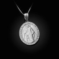 White Gold Virgin Mary Conceived Without Sin Oval Satin Pendant Necklace