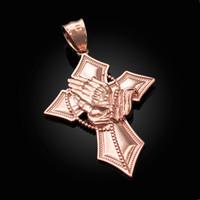 Rose Gold Praying Hands Catholic Cross Pendant