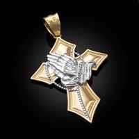 Two-Tone Yellow Gold Praying Hands Catholic Cross Pendant