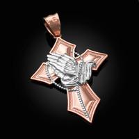 Two-Tone Rose Gold Praying Hands Catholic Cross Pendant