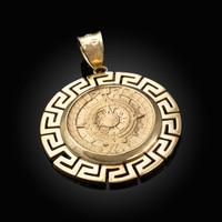 Yellow Gold Aztec Bezel Mayan Sun Calendar Pendant