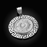 White Gold Aztec Bezel Mayan Sun Calendar Pendant