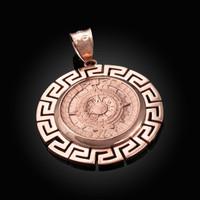 Rose Gold Aztec Bezel Mayan Sun Calendar Pendant
