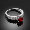 Ladies Diamond pave white gold Engagement/Anniversary ring with genuine Ruby center stone.